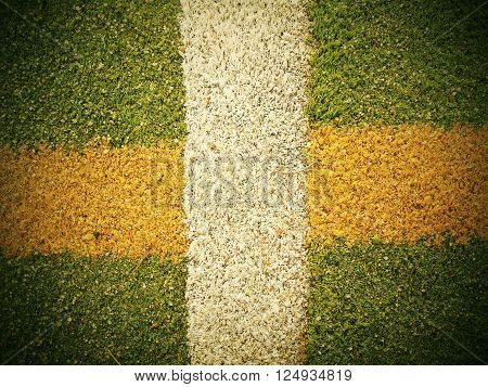Outdoor Stadium. Colorful Lines In Empty Outdoor Handball Playground, Plastic Light Green Surface On