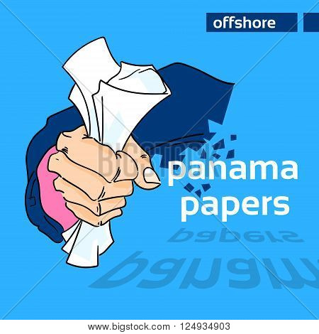 Panama Papers Business Man Hold Private Document Suit Concept Offshore Company Owner Information Vector Illustration