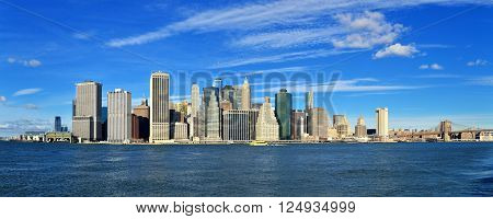 Panorama of the Manhattan Island at sunny day.