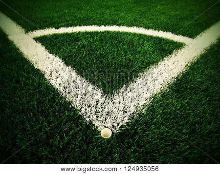 Outdoor Football Playground Corner On Artificial Green Turf Ground With Painted White Line Marks. Mi