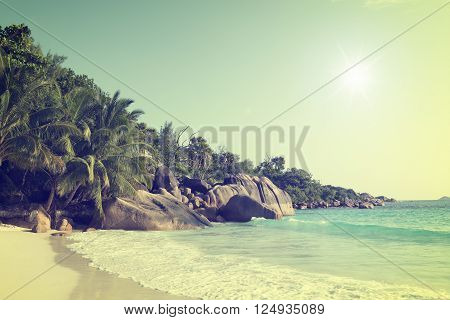 sunny vintage filtered anse lazio praslin island seychelles