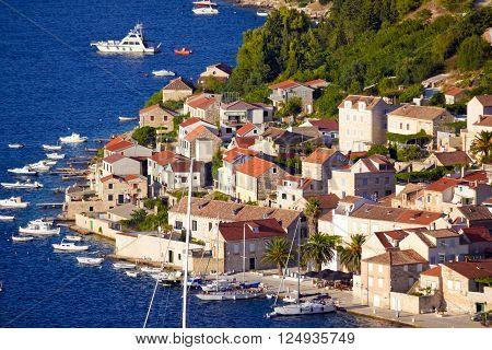 Idyllic coastal village of Vis island Dalmatia Croatia ** Note: Soft Focus at 100%, best at smaller sizes