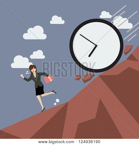 Business woman running away from clock attack. Business concept