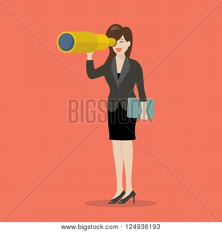 Business woman search in business strategy. Business concept