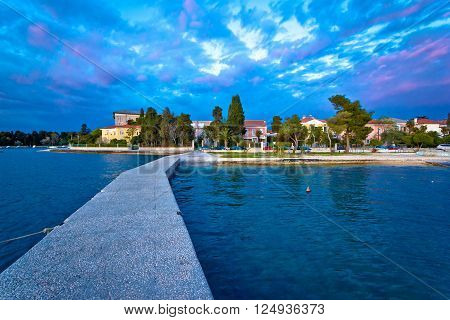 Zadar coast blue evening view Dalmatia Croatia