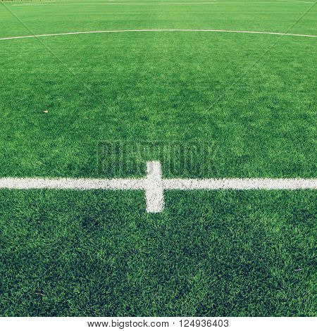 Detail Of Crossed White Lines On Outdoor Football Playground. Detail Of Lines In A Soccer Field.