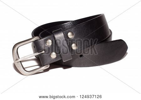 black leather belt with silver buckle isolate on white background