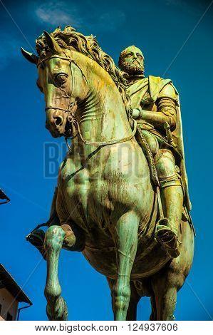 Equestrian statue of Cosimo de 'Medici in Florence, Italy.
