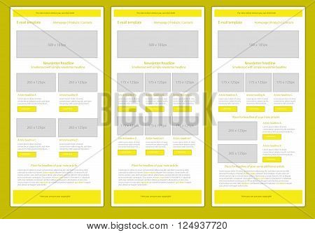Professional flat style newsletter yellow template with round corners