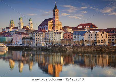 Passau. Passau skyline during sunset, Bavaria, Germany.