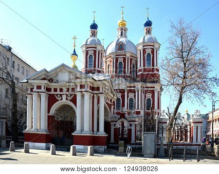 Moscow, Russia - March 26, 2016: Moscow, temple Martyr Clement Pope Rome of the XVII Century, Pyatnitskaya street