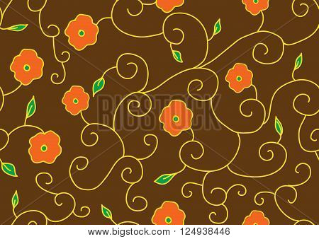 Example of flowers for fabric, seamless structure, a graphic element of design, a petal of the blossoming flower, plants interwoven into standard, botanical decoration, a vector pattern,