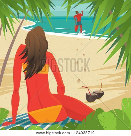 Tanned girl sitting on the beach and looking at her boyfriend who is running for a swim - Relationship or love concept