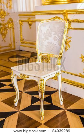 TSARSKOYE SELO, RUSSIA - MARCH 12: Antique chair in Catherine Palace at March 12, 2016 in Tsarskoye Selo (Pushkin), Russia