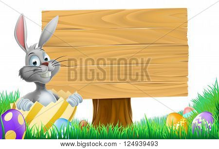 Cartoon Easter Bunny Sign