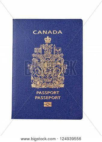 Canadian passport close-up and isolated over white background