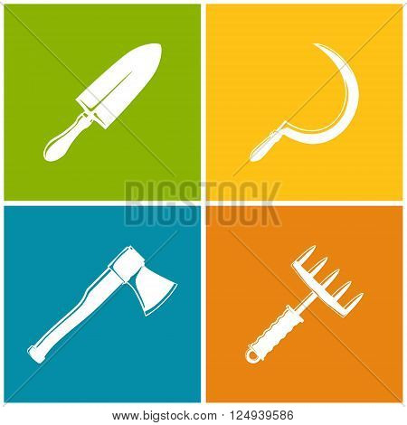 Set of Colored Farming  Icons , Garden and Landscaping Tools , Icon Trowel , Icon Sickle , Icon Axe , Icon Hand Rake , Garden Equipment , Agricultural Tool  , Vector Illustration