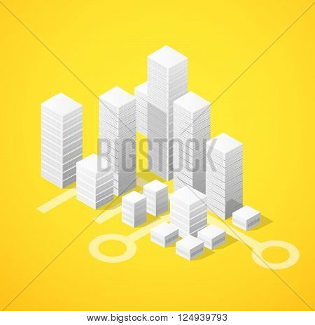 Isometric city block of skyscrapers flat illustration