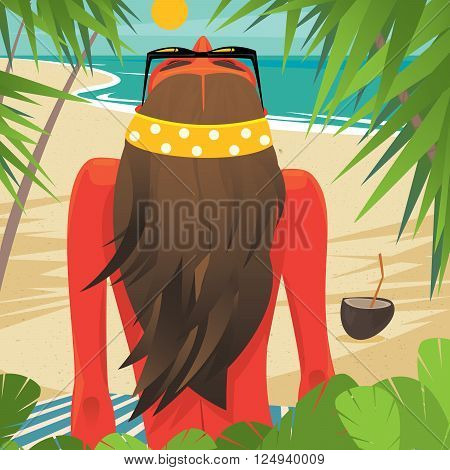 Tanned girl sitting leaning on hand on the beach under palm trees. View from the back - Leisure or sunbathing concept