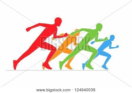 Colored silhouettes of runners. Line running symbol. Vector figures athletes running. Vector running and marathon logo.