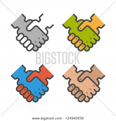Colored vector icons of handshake on white background. Set of linear handshake. Set of vector hand.
