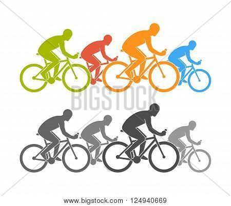 Colored and black flat cycling logo and icon. Vector figures cyclist. Cycling symbol label and badge.