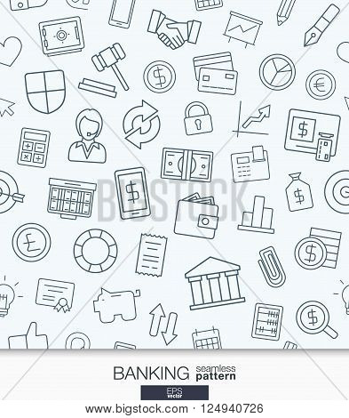 Banking and finance wallpaper. Black and white bank seamless pattern. Tiling textures with thin line web icons set. Vector illustration. Abstract background for mobile app, website, presentation.