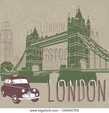 Journey to England. Taxi and architecture of London.