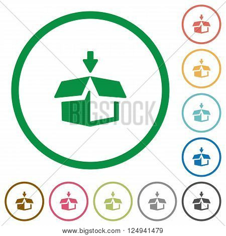 Set of pack color round outlined flat icons on white background