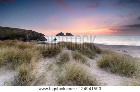 Sunset Over Sand Dunes On The Cornwall Coastline