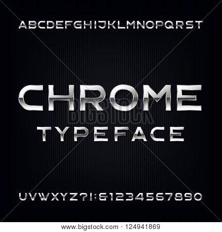 Chrome Alphabet Vector Font. Modern metallic letters and numbers on the dark background. Stock vector typeface for your design.