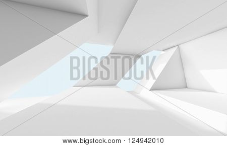 Abstract White Room, 3D Interior With Windows