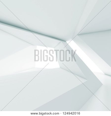 Abstract White Room Interior With Windows 3 D