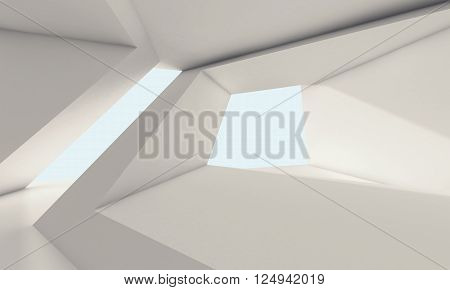 Abstract White Room Interior With Windows 3D