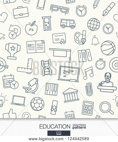 Education wallpaper. Black and white school and university seamless pattern. Tiling textures with thin line web icons set. Vector illustration. Abstract elearning background for mobile app, website
