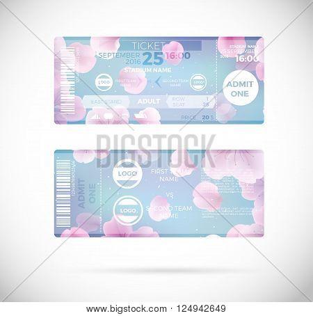 Football ticket floral card modern feminine design for women's teem. Vector illustration