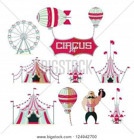 vector illustration collection of a set of circus tent balloon airship plane, carousel horses, weightlifter circus flat icon