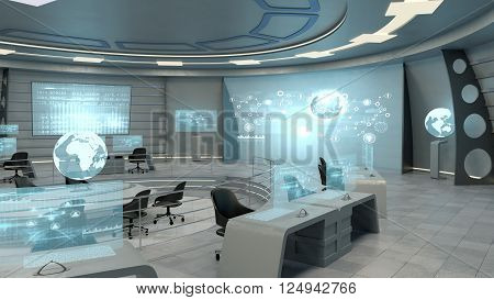 Futuristic interior view of office with holographic screen and earth globe, technology concept. 3D rendering
