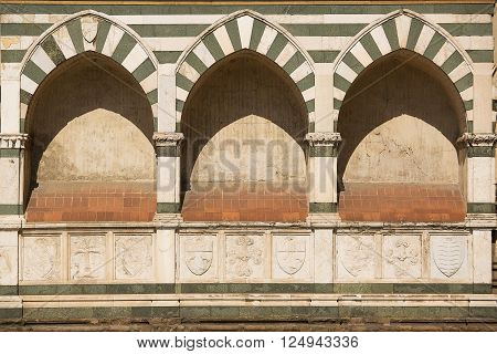 Florence Italy-June 2 2015. Exterior detail of the Basilica of Santa Maria Novella situated just across from the main railway station which shares its name. Chronologically it is the first great basilica in Florence and is the city's principal Dominican c