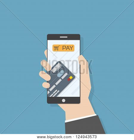 Simple flat illustration. Hand holding smartphone with credit card and pay button. Phone application template.
