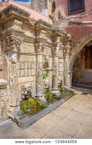 Rethymno old town Rimondi Fountain that dates back to 17th century, Crete, Grece.