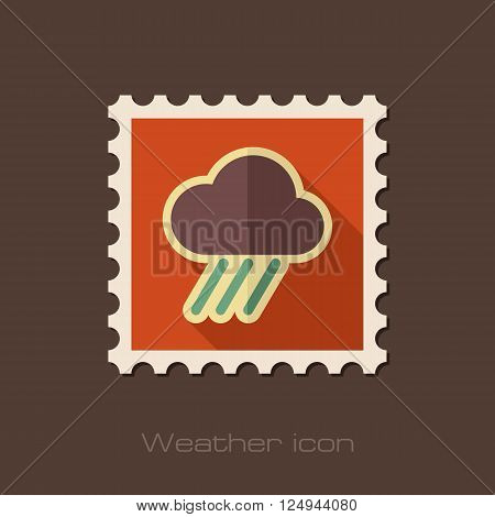 Rain Cloud flat stamp. Downpour rainfall. Weather. Vector illustration eps 10
