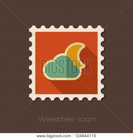 Cloud Moon flat stamp. Sleep dreams symbol. Meteorology. Weather. Vector illustration eps 10