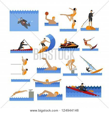 Water sport icons set with people swimming, sailing, jumping to water. Vector illustration in flat style. Design elements and objects isolated on white background.