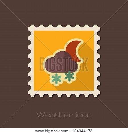 Cloud with Snow Moon flat stamp. Meteorology. Weather. Vector illustration eps 10