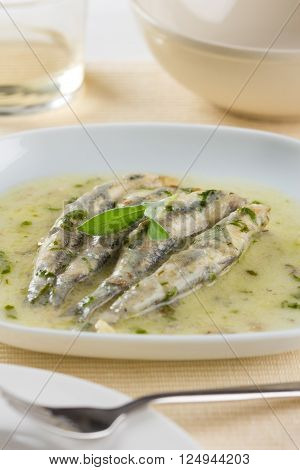 Marinated anchovies with garlic, parsley and olive oil on a plate