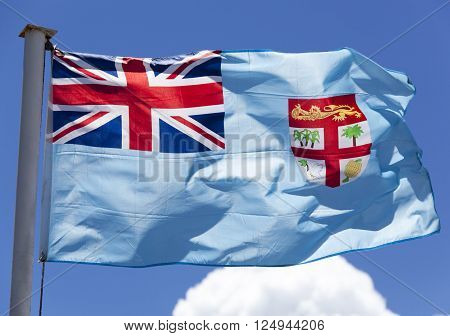 The close view of Fiji flag in a morning light (Lautoka Fiji).