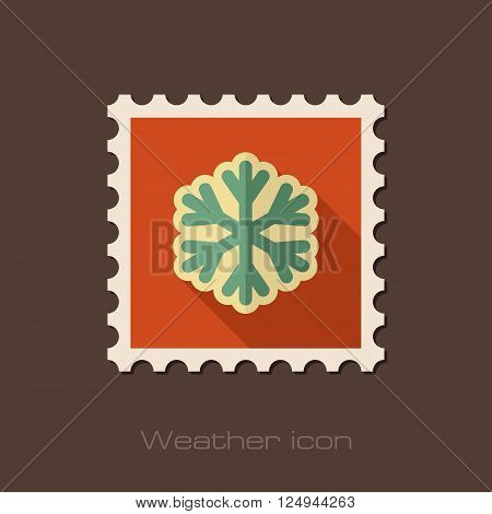 Snowflake Snow flat stamp. Meteorology. Weather. Vector illustration eps 10