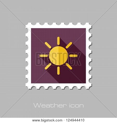 Sun flat stamp. Meteorology. Weather. Vector illustration eps 10