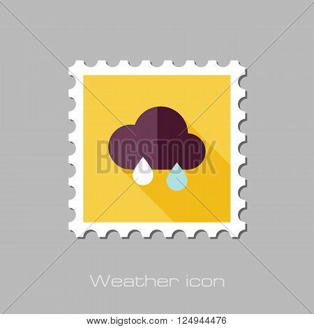 Rain Cloud flat stamp. Meteorology. Weather. Vector illustration eps 10